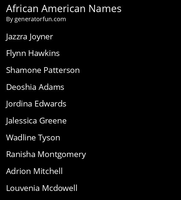African American Names