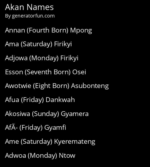 Akan Names