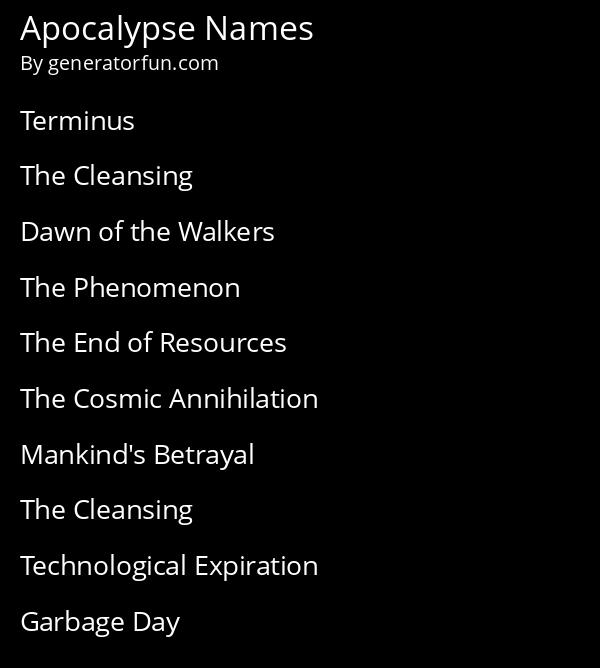 Apocalypse Names