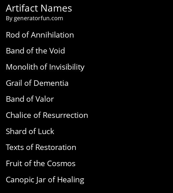 Artifact Names