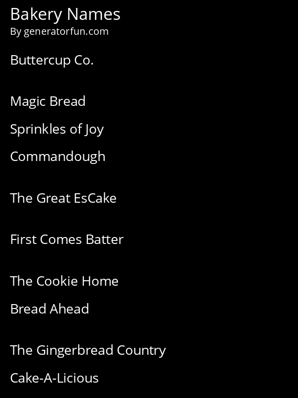 Bakery Names