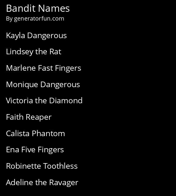 Bandit Names