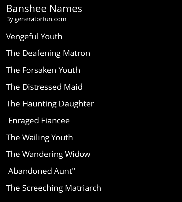 Banshee Names