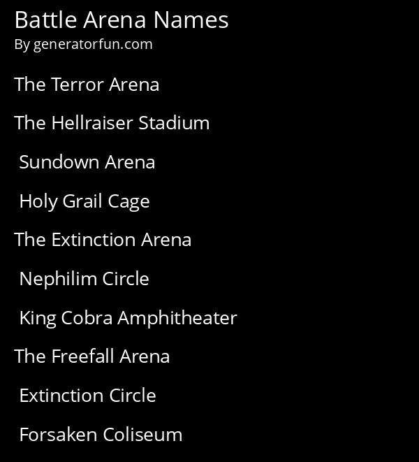 Battle Arena Names