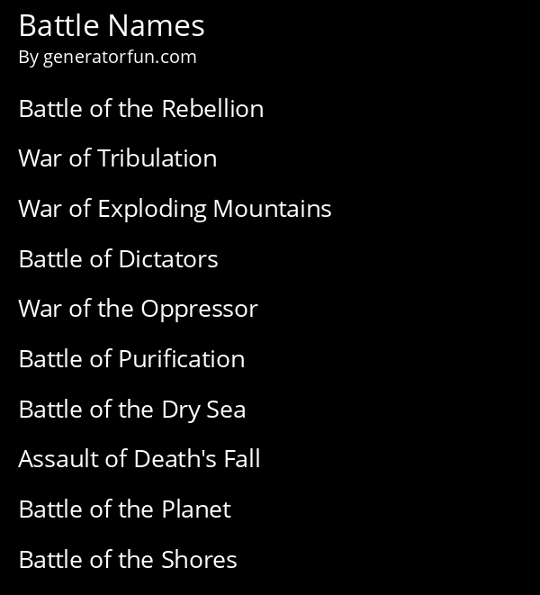 Battle Names