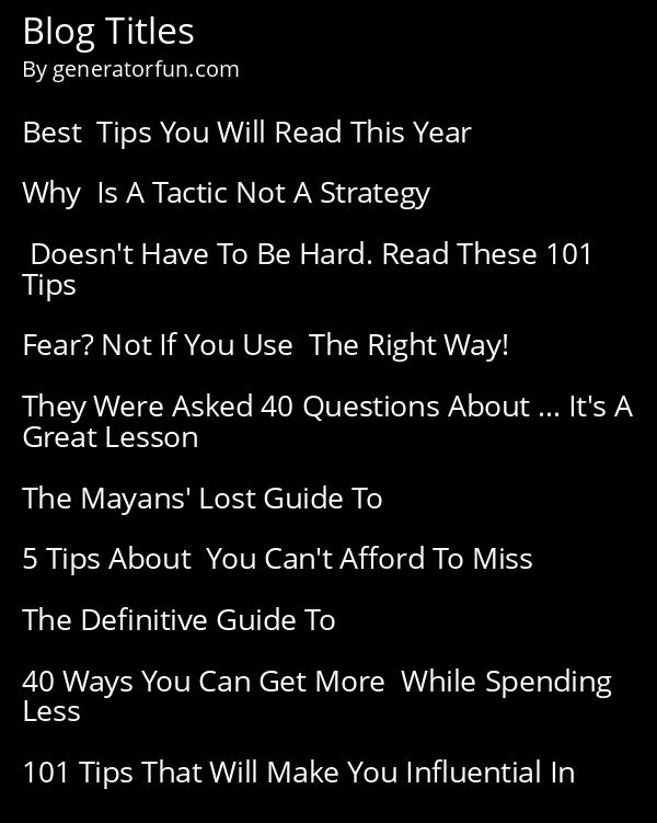 Blog Titles