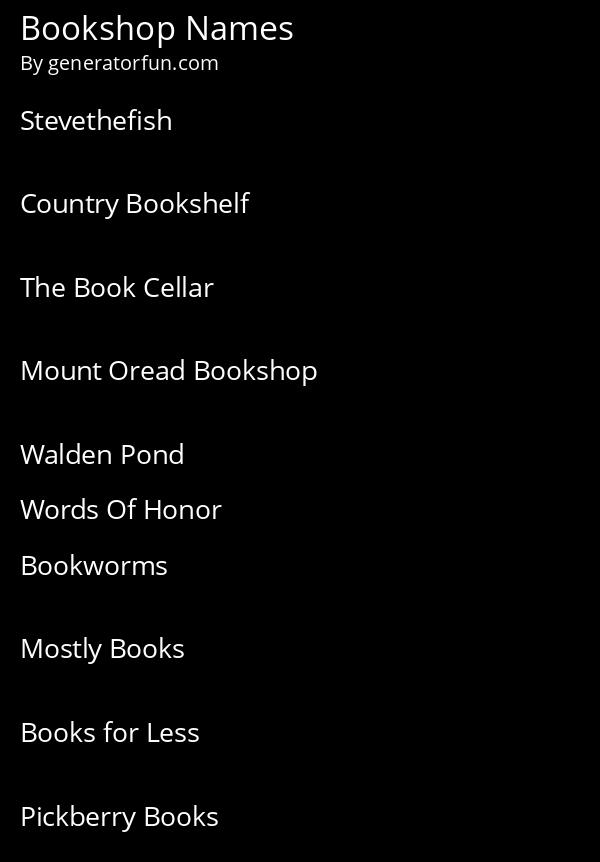 Bookshop Names