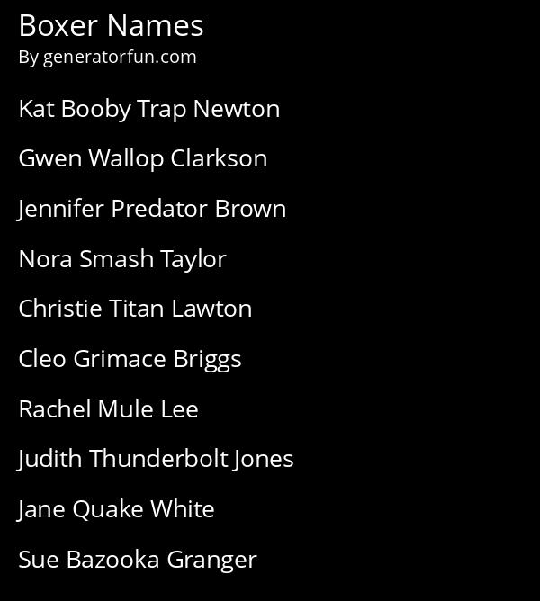 Boxer Names