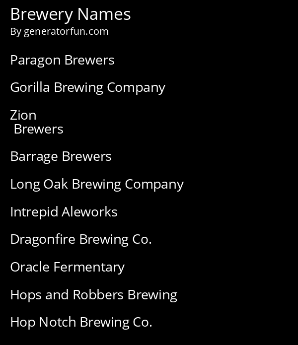 Brewery Names