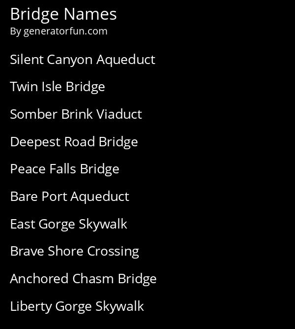 Bridge Names