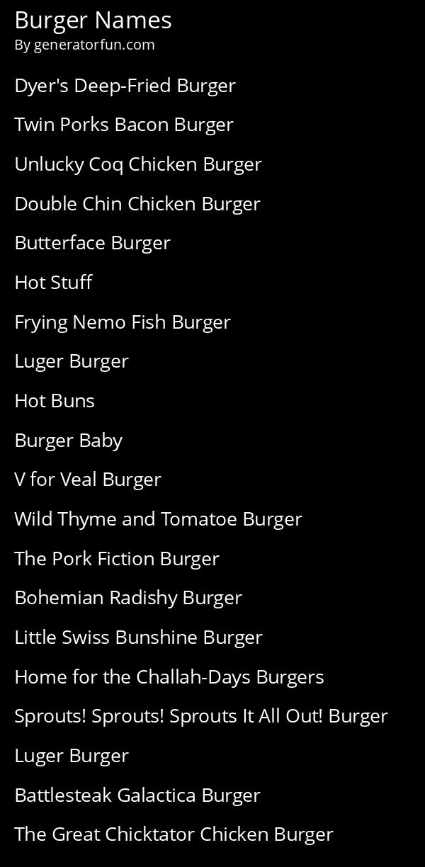 Burger Names