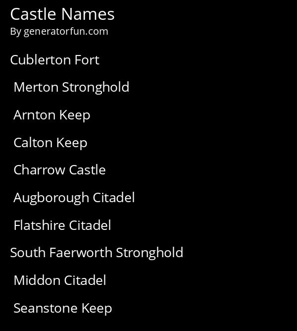 Castle Names