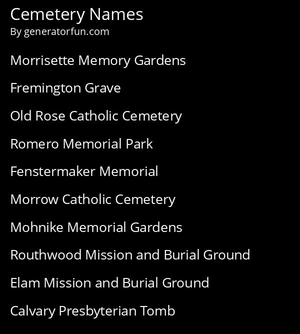 Cemetery Names