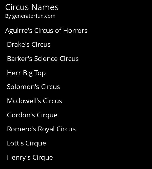 Circus Names
