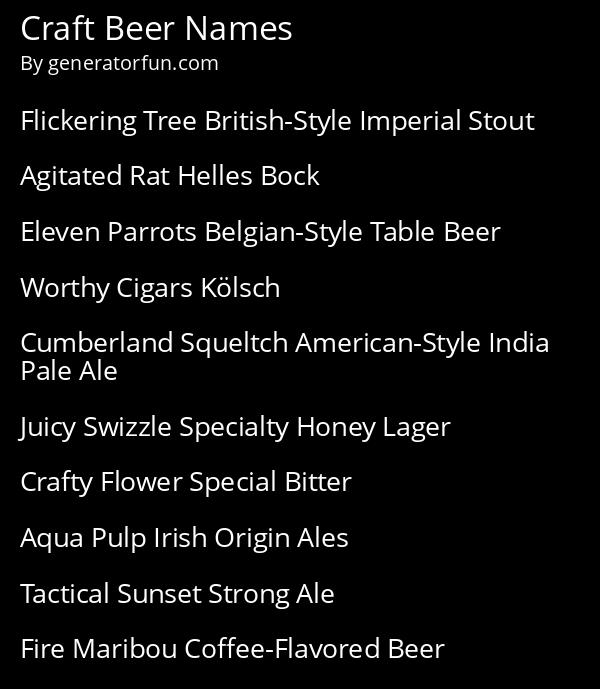 Craft Beer Names