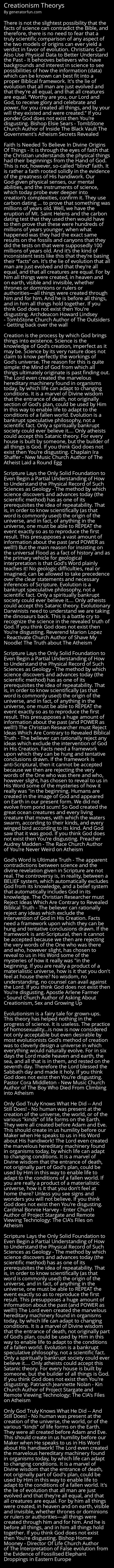 Creationism Theorys