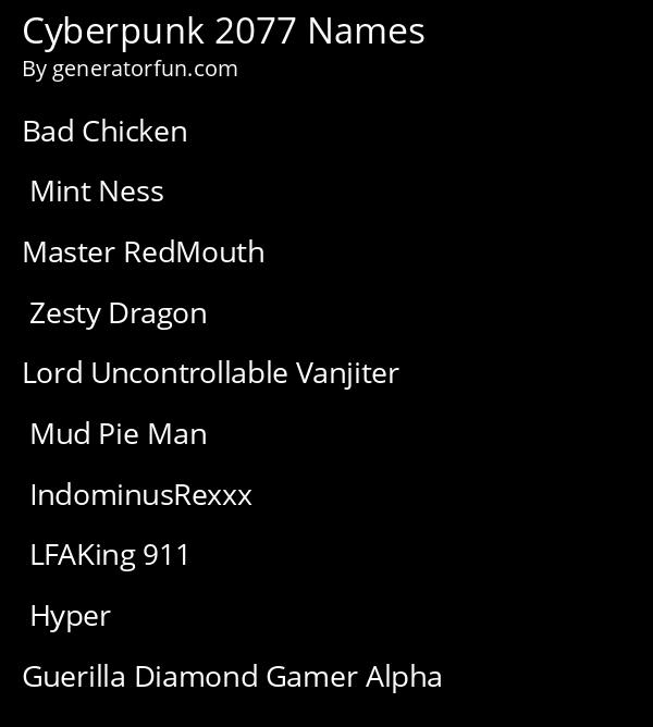 Cyberpunk 2077 Names