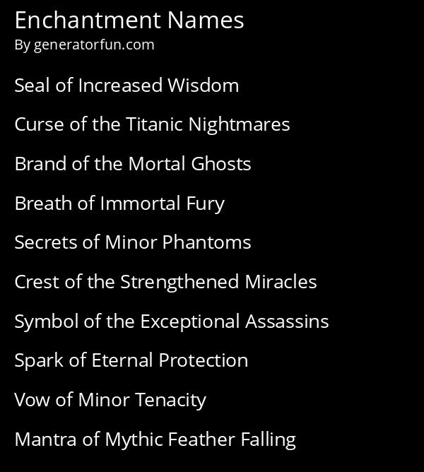 Enchantment Names