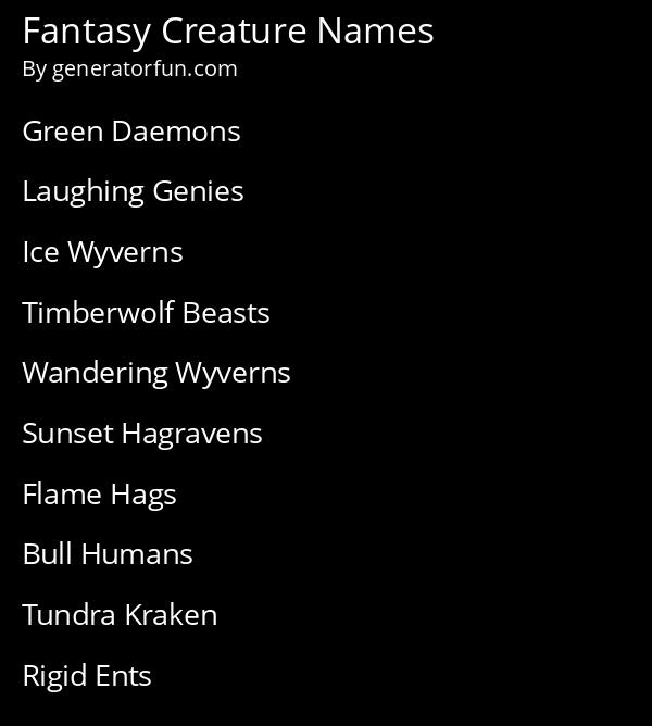 Fantasy Creature Names