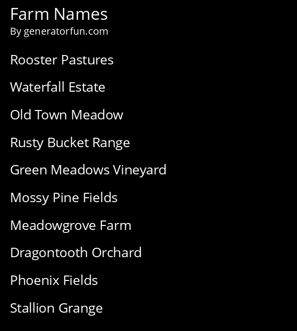 Farm Names