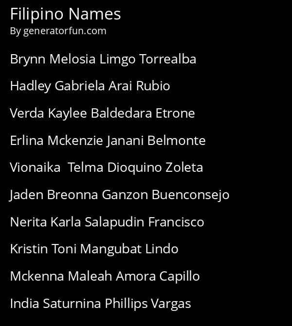 Filipino Names