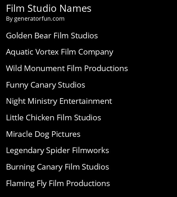 Film Studio Names