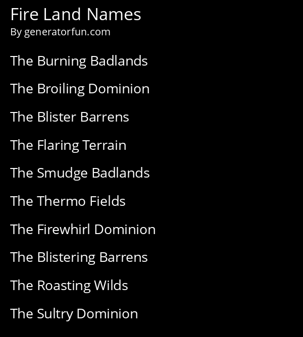 Fire Land Names