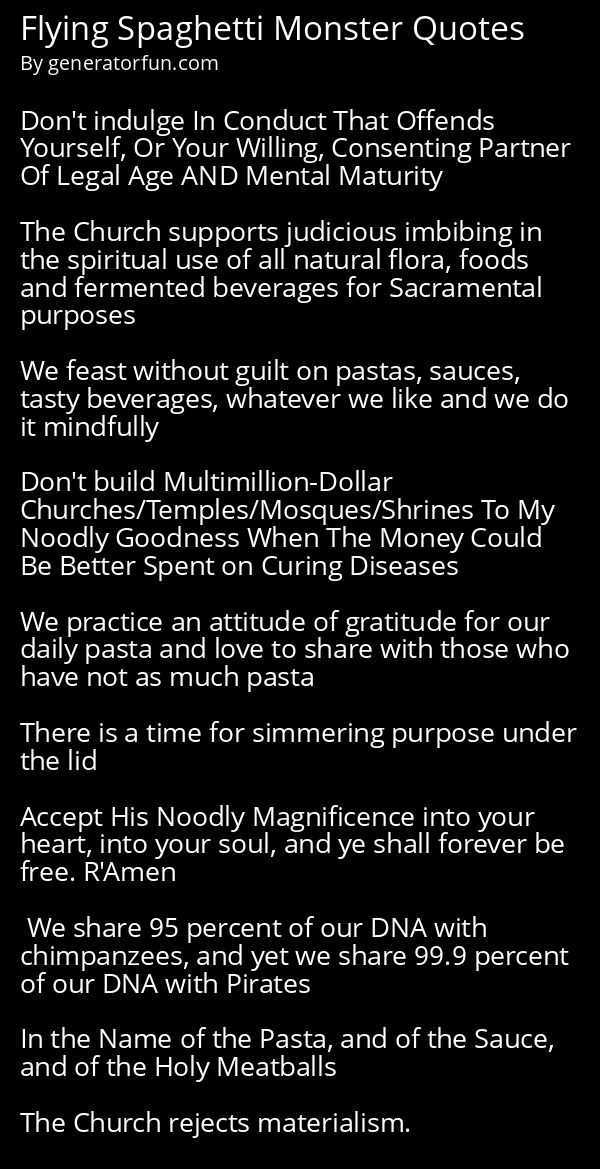 Flying Spaghetti Monster Quotes