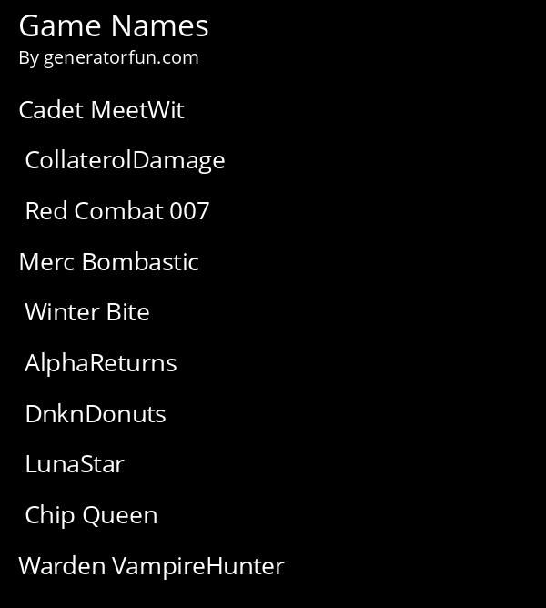 Game Names