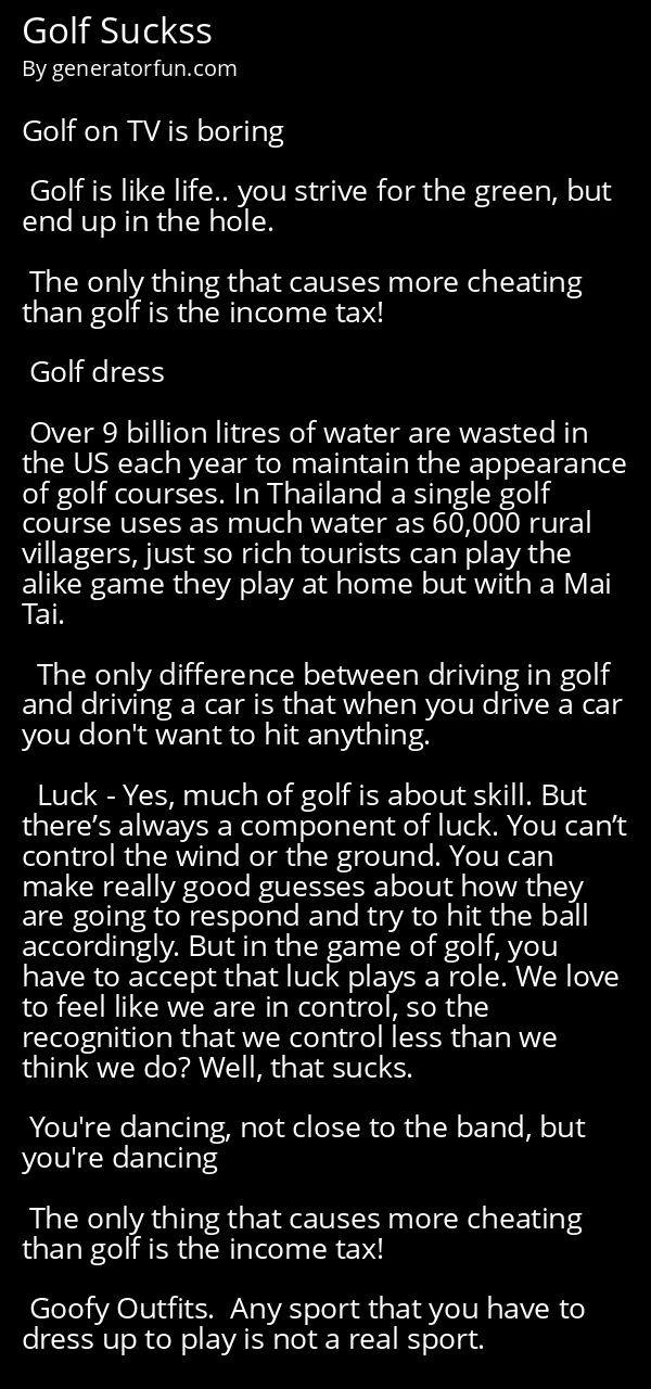 Golf Suckss