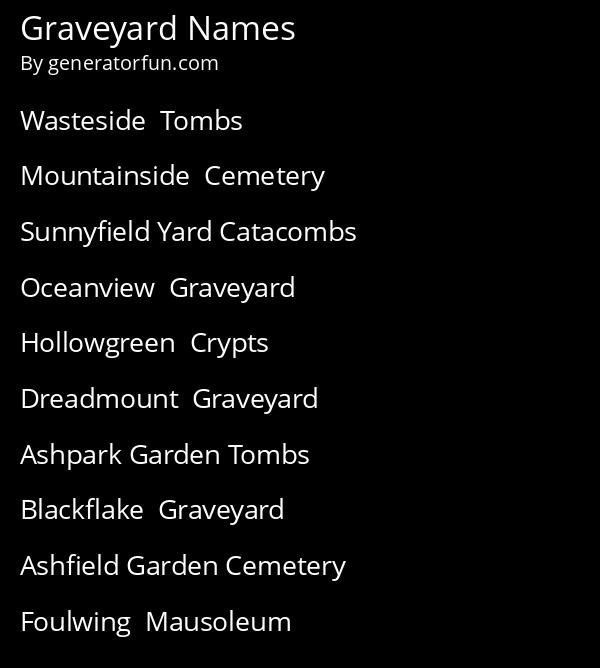 Graveyard Names