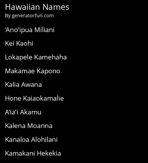 Hawaiian Names