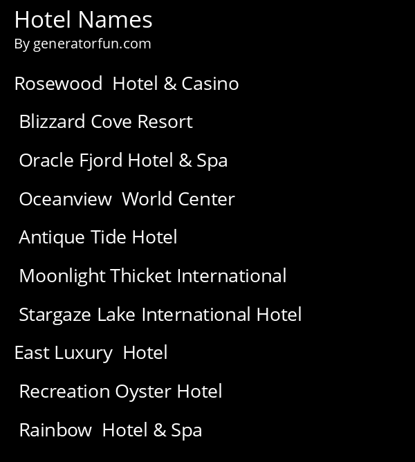 Hotel Names