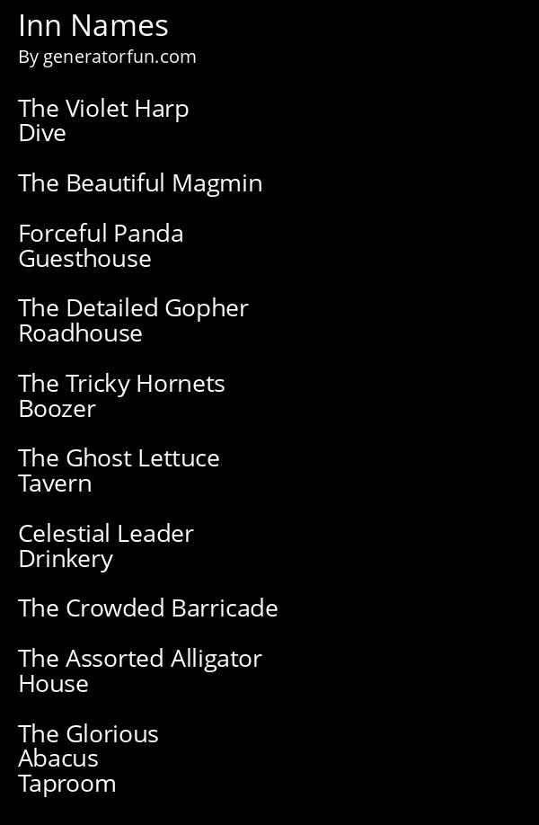 Tavern Names