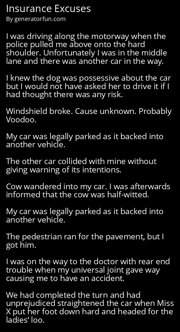 Insurance Excuses
