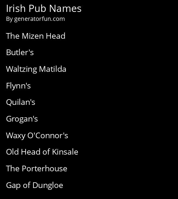 Irish Pub Names