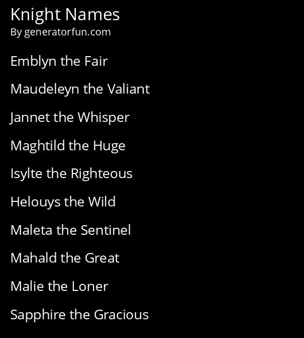 Knight Names
