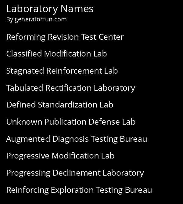 Laboratory Names