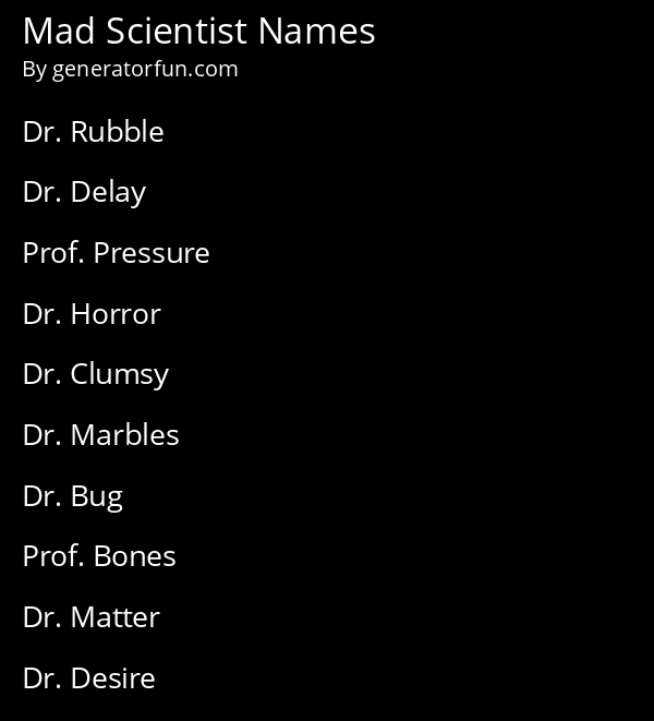 Mad Scientist Names