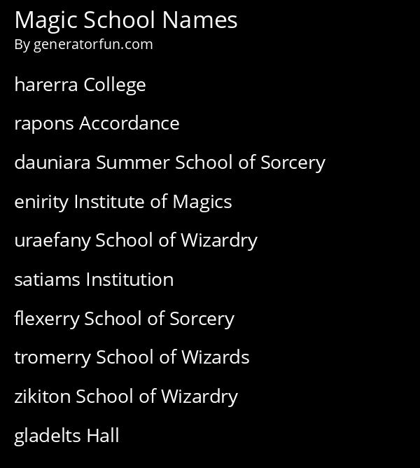 Magic School Names
