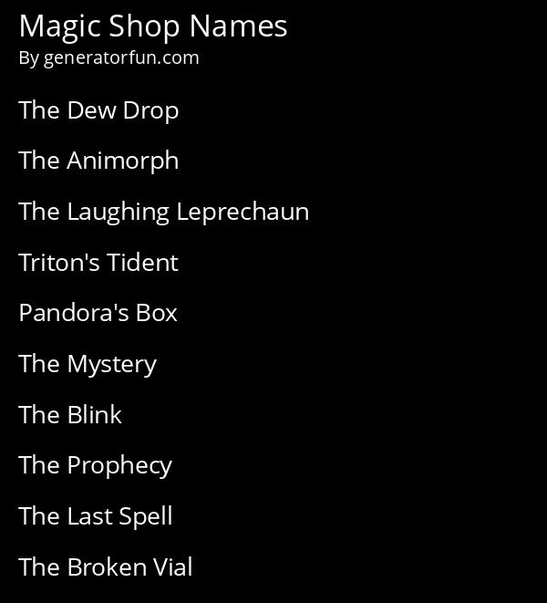 Magic Shop Names
