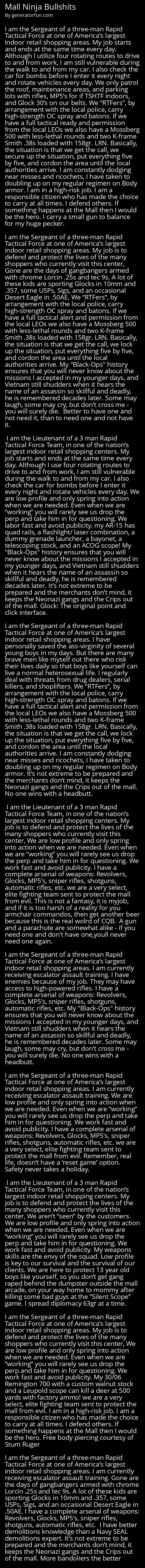 Mall Ninja Bullshits