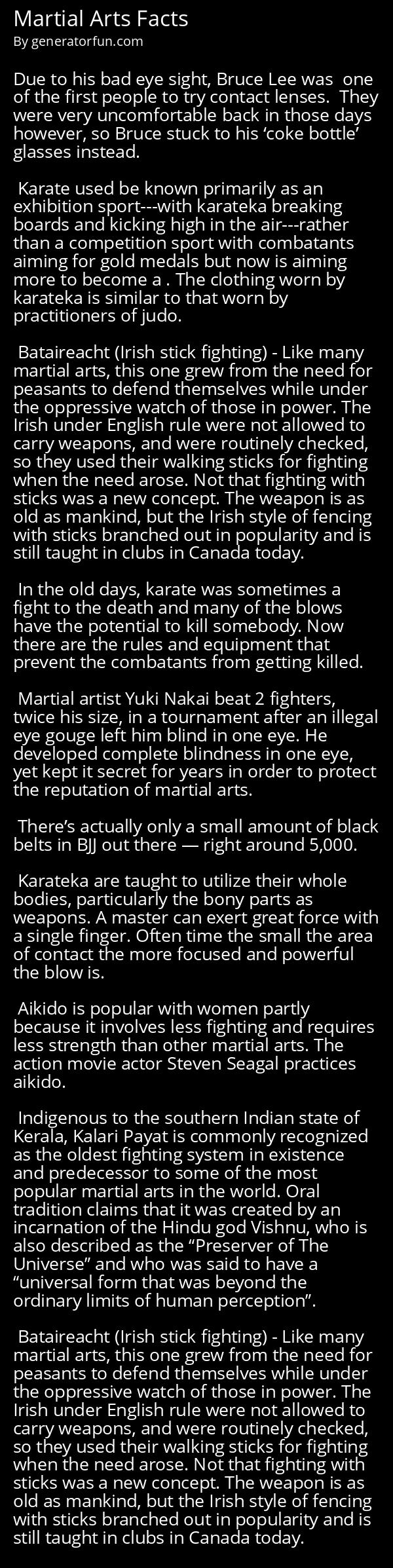Martial Arts Facts