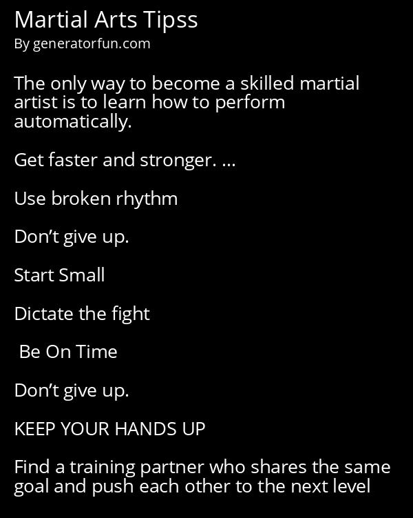 Martial Arts Tipss