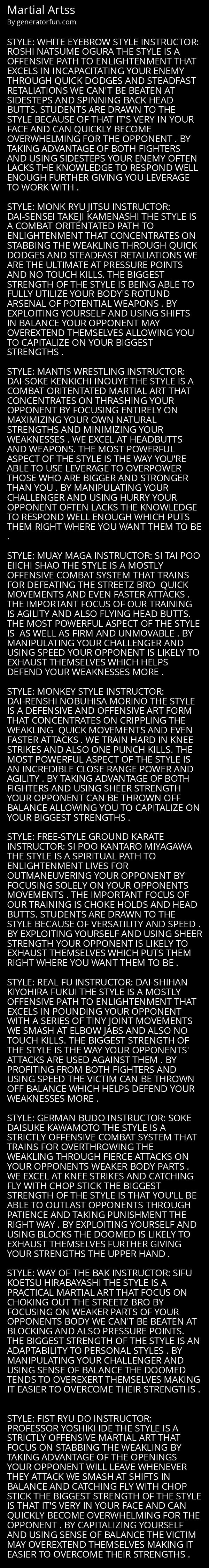 Martial Artss