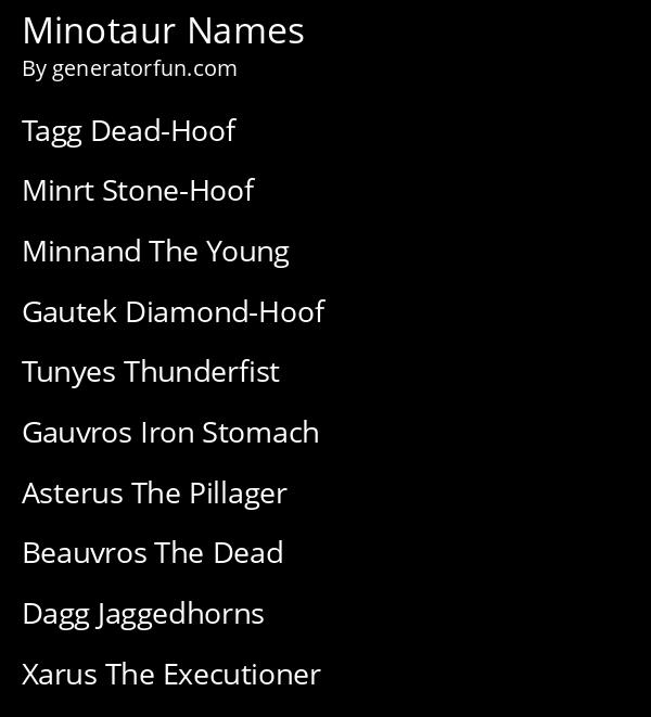 Minotaur Names