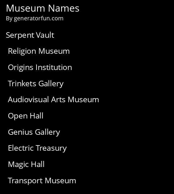 Museum Names