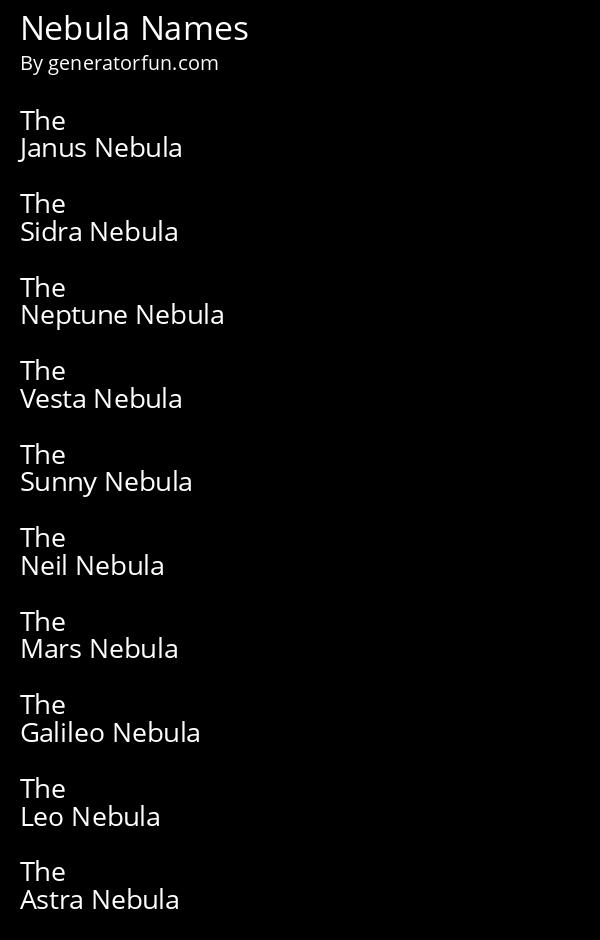 Nebula Names