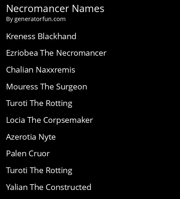 Necromancer Names