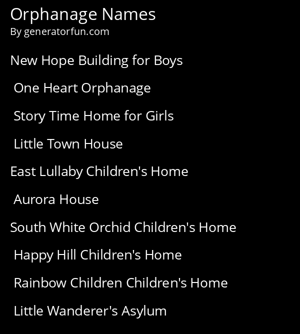 Orphanage Names